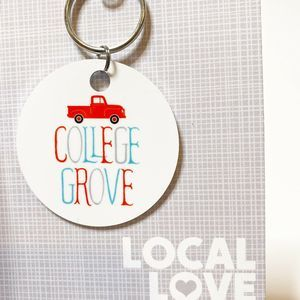 College Grove Red Truck Key Fob